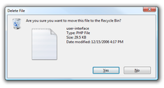 Disable Delete Confirmation Dialog in Windows 7 or Vista