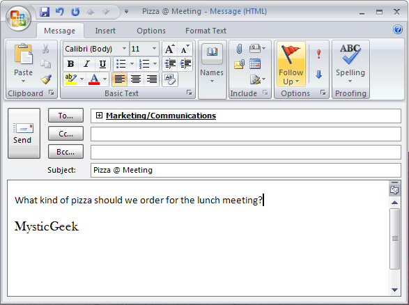 Sending Polls in Outlook 2007
