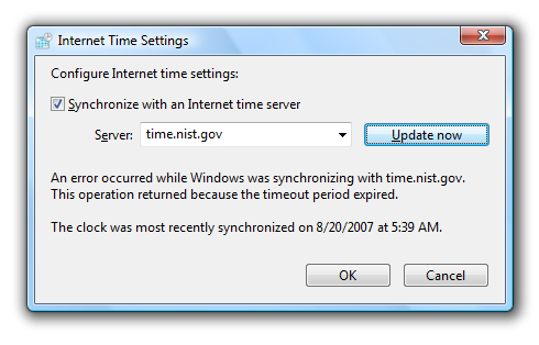 Dealing With Windows Vista Time Sync Problems