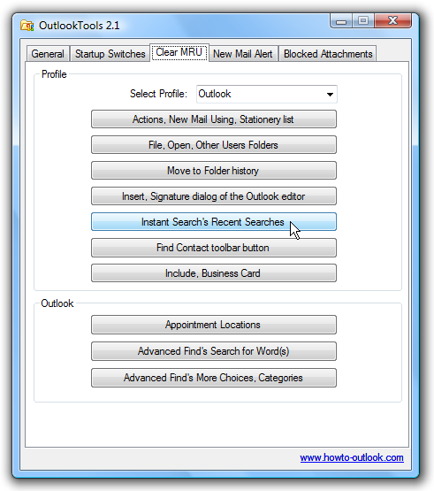 Clear outlook searches and mru most recently used lists make sure you have the correct profile selected in the drop down list and then click the buttons to clear ccuart Choice Image