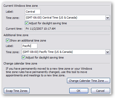 how to change the timezone in outlook calendar