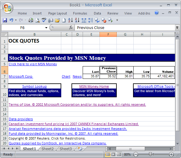 Image of: Quotation Best Excel Tutorial Download And Keep Track Of Stocks In Excel 2007