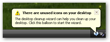 unused icons message in Windows