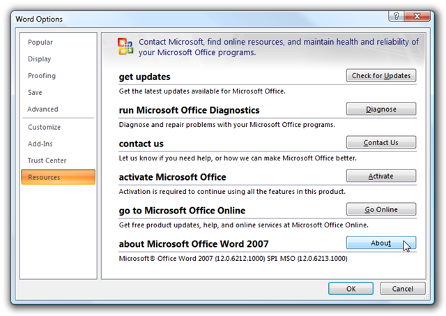 Select The Resources Tab On Left Hand Pane And Then Youll See About Microsoft Office Word 2007 In List
