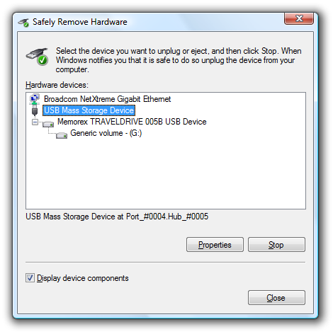 Create a shortcut or hotkey for the safely remove hardware for Window location assign