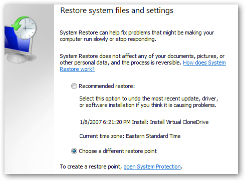 Windows system restore system files and applications GUI interface