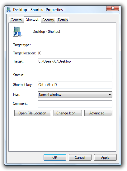 Custom Keyboard Shortcut to Open Desktop Folder