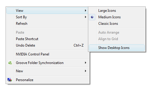 Create a Keyboard Shortcut to Access Hidden Desktop Icons