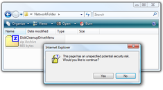 """Disable the Annoying """"This page has an unspecified potential security risk"""" When Using Files on a Network Share"""