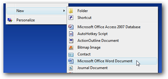 Add Word Excel 97 2003 Documents Back To The New Context Menu After Installing Office 2007