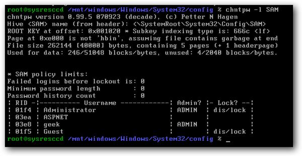 تغير باسورد Windows باستخدام  Linux Rescue نسيان باسورد الونيدوز