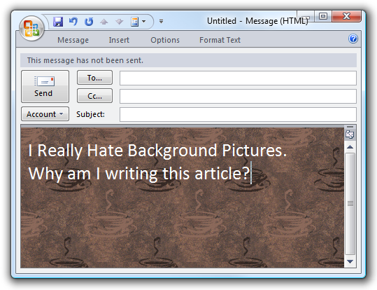 Add a Background Picture to an Email On the Fly in Outlook 2007