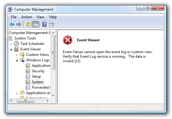 "Error Log: Fixing ""Event Viewer Cannot Open The Event Log"" When"