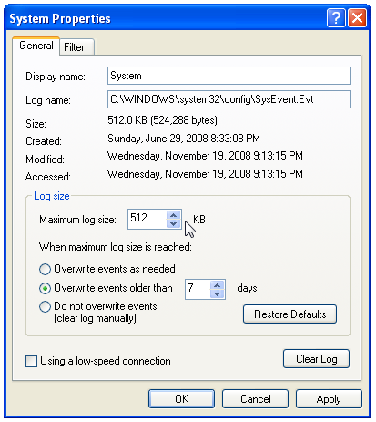 clear the windows event viewer logs for application and system