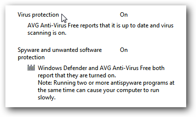 Windows 7 AVG Action Center Message