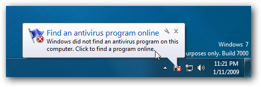Windows 7 Find Antivirus Program Online Balloon