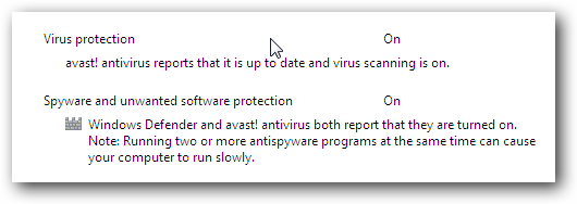 Windows 7 Avast Action Center Message