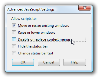 Firefox Advanced Javascript Settings