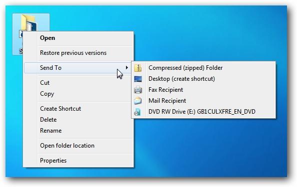 Windows 7 Send To Menu