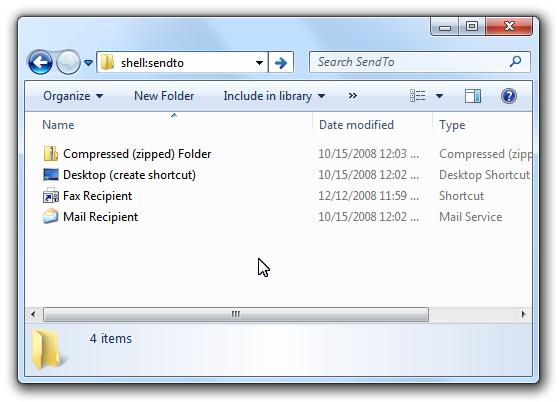 Windows 7 shell:sendto Menu