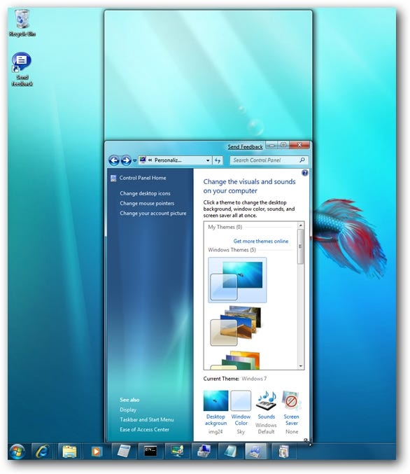 Windows 7 Window Docking to Screen