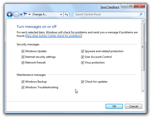 Windows 7 Action Center Messages on or off