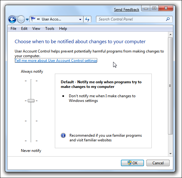 Windows 7 UAC Slider