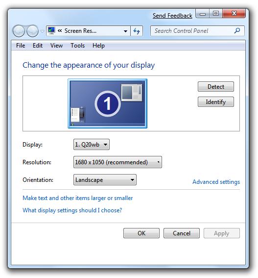 Windows 7 Display Properties