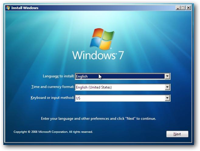 Windows 7 Install Screen