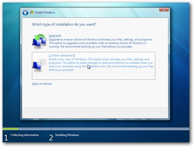 Windows 7 Install Choose Type