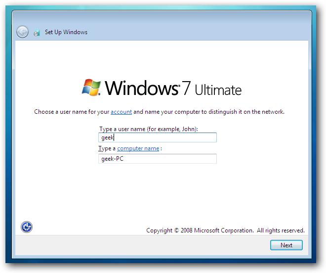 Windows 7 Choose Account