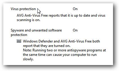 Windows 7 AVG Action Center Message
