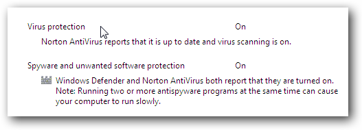 Windows 7 Norton Action Center Message