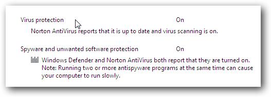 Windows 7 Norton Action Center Message