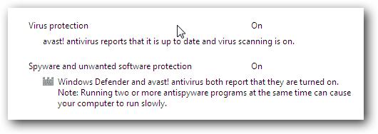 Windows 7 Avast Action Center Message