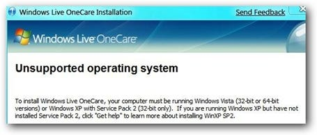 Windows 7 Live OneCare Not Working