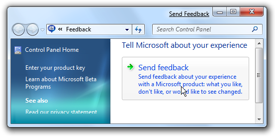 Windows 7 Send Feedback Control Panel