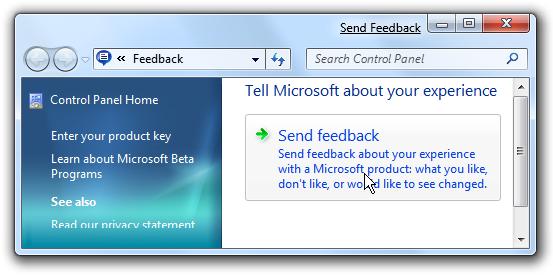 Windows 7 Send Feedback Control Panel