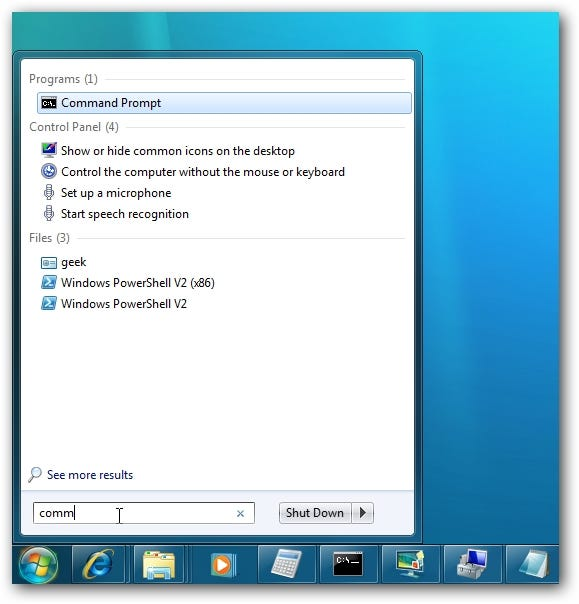 Windows 7 Start Menu Search