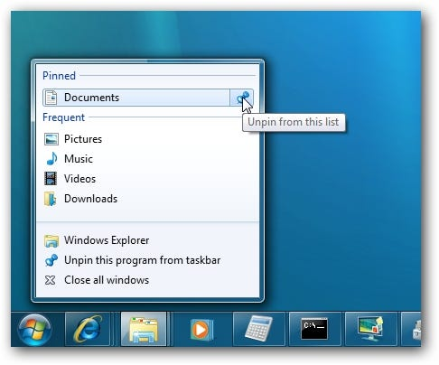 Windows 7 Jump List