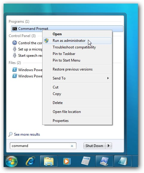 Windows 7 Command Prompt as Administrator