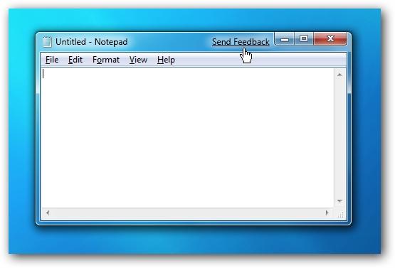 Windows 7 Send Feedback Link