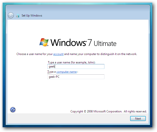 Windows 7 Choose Account