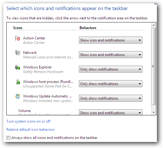 Windows 7 Icons and Notifications