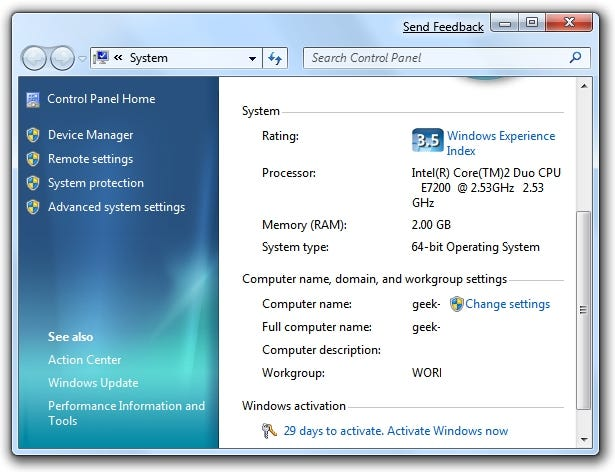 Windows 7 System Properties Activation
