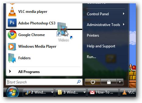 Windows Vista Pin Folder to Start Menu