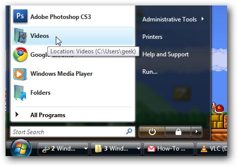 Windows Vista Pinned Start Menu Folder