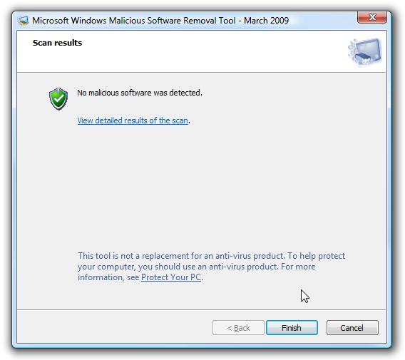 No malicious software detected