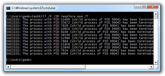 Command Prompt taskkill