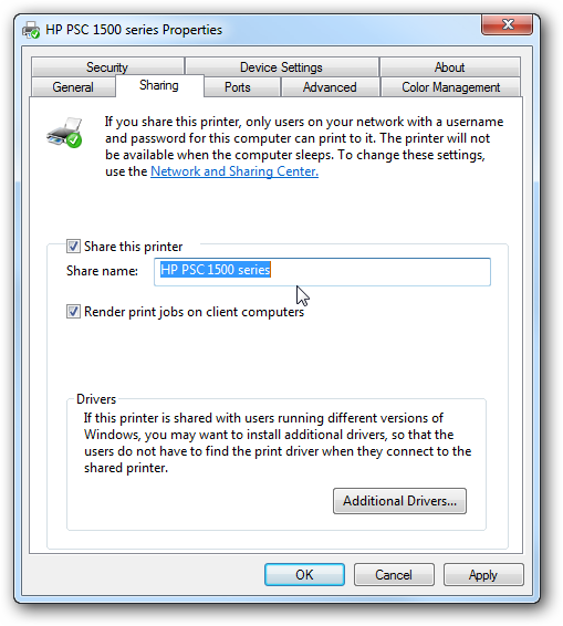 Share Files and Printers between Windows 7 and XP